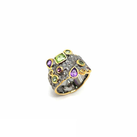 One Of A Kind Peridot Amethyst And Orange Sapphire Ring