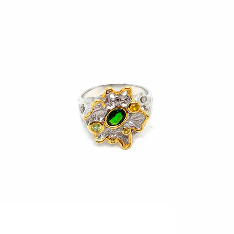 One Of A Kind Green Chrome Diopside Peridot And Yellow Sapphire Ring
