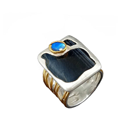 Electro Forming - 925 Sterling Silver Ring, Decorated with Black Tiger Eye and Spectrolite, Plated with 3 Micron 22K Yellow Gold and Silver