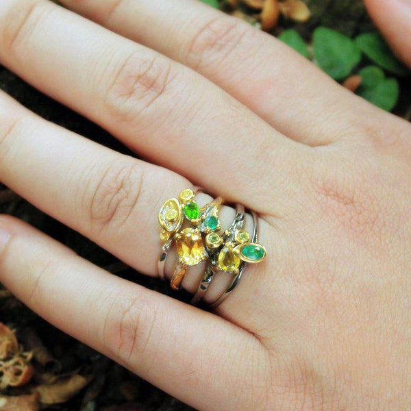 Stacking Sapphire and Peridot Ring-Rings-AdiOre Jewels