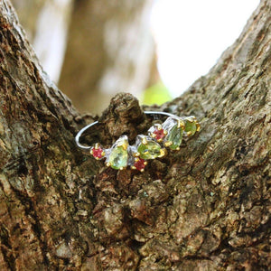 Stacking Peridot and Sapphire Ring-Rings-AdiOre Jewels