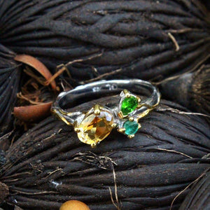 Stacking Citrine, Emerald and Diopside Ring-Rings-AdiOre Jewels
