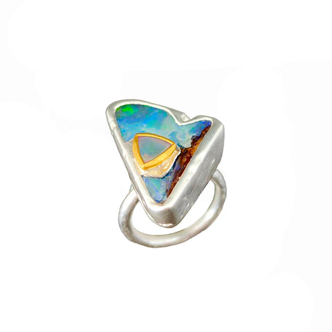 Electro Forming - 925 Sterling Silver Ring, Decorated with Bolder Opal and Ethiopian Opal, Plated with 3 Micron 22K Yellow Gold and Silver