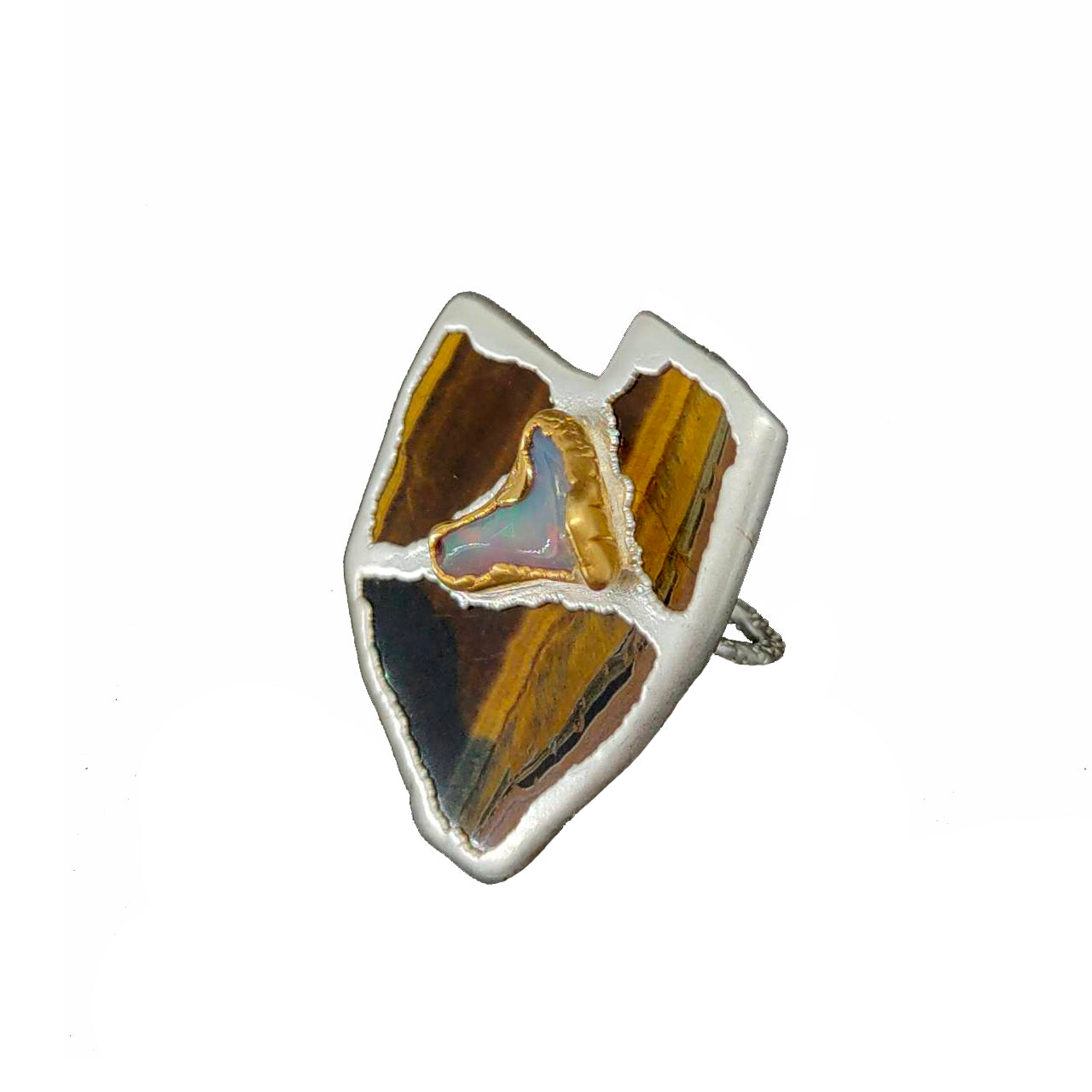 Electro Forming - 925 Sterling Silver Ring, Decorated with Golden Tiger Eye and Curved Ethiopian Opal, Plated with 3 Micron 22K Yellow Gold and Silver