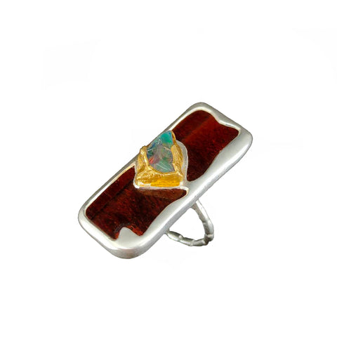 Electro Forming - 925 Sterling Silver Ring, Decorated with Iron Tiger Eye and Rough Ethiopian Opal, Plated with 3 Micron 22K Yellow Gold and Silver