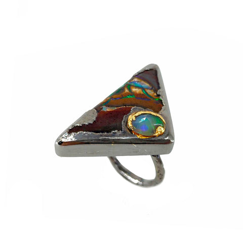 Electro Forming - 925 Sterling Silver Ring, Decorated with Bolder Opal and Ethiopian Opal, Plated with 3 Micron 22K Yellow Gold and Grey Ruthenium