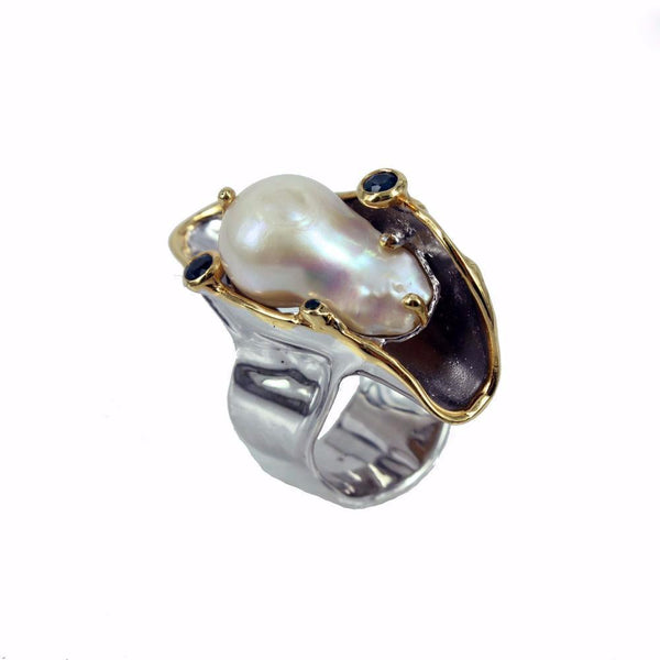 One Of A Kind Aqua Blanca Ring-Rings-AdiOre Jewels