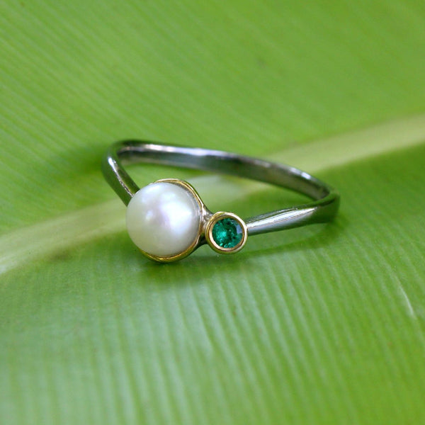 Stacking Emerald and Fresh Water Pearl Ring-Rings-AdiOre Jewels