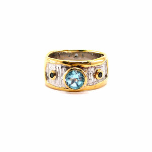 Alice - 925 Sterling Silver Ring, Decorated with Blue Topaz and Sapphires, Plated with 3 Micron 22K Yellow Gold and White Rhodium