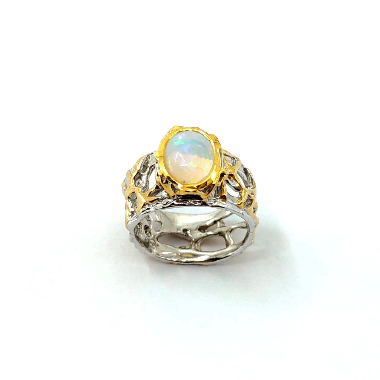 Opal Magic - 925 Sterling Silver Ring, Decorated with Ethiopian Opal, Plated with 3 Micron 22K Yellow Gold and White Rhodium