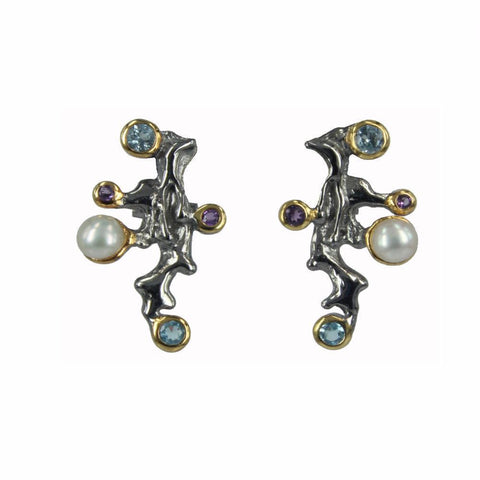 925 silver black ruthenium earrings with blue topaz, amethyst, pearl