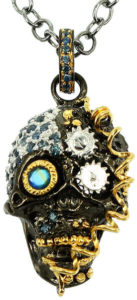 SteamPunk - 925 Sterling Silver Necklace, Decorated with Blue Topaz and Sapphires, Plated with 3 Micron 22K Yellow Gold and White/Black Rhodium