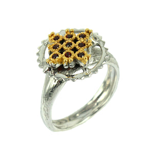 SteamPunk - 925 Sterling Silver Ring, Decorated with Garnets, Plated with 3 Micron 22K Yellow Gold and White Rhodium