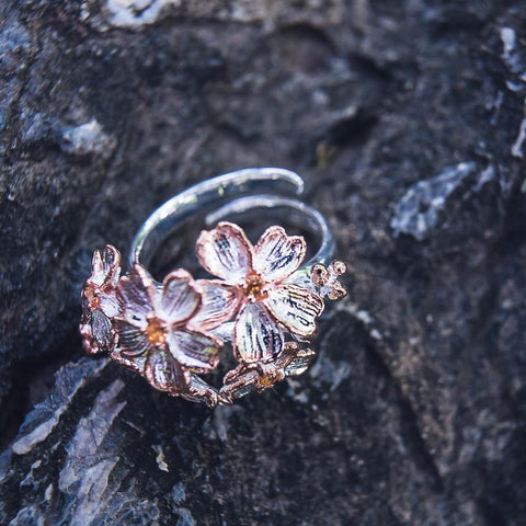 Magic 925 silver floral cluster ring with orange sapphire, adjustable