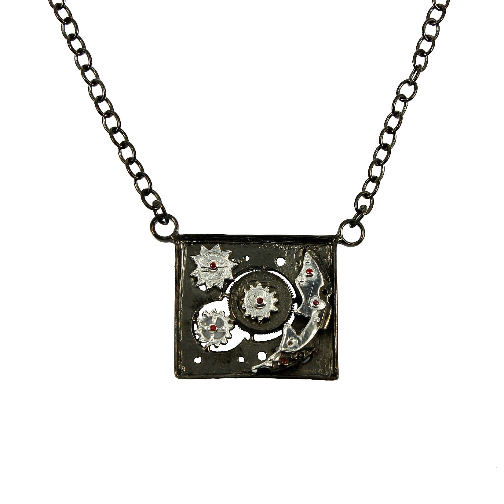 SteamPunk - 925 Sterling Silver Necklace, Decorated with Red Sapphires, Plated with White and Black Rhodium