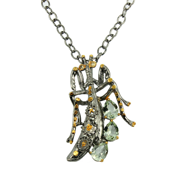 SteamPunk - 925 Sterling Silver Necklace, Decorated with Green Amethyst and Yellow-Orange Sapphires, Plated with 3 Micron 22K Yellow Gold and Grey Ruthenium