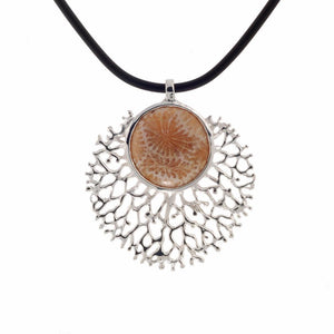 925 silver pendant with big fossil coral in center, touch of nature