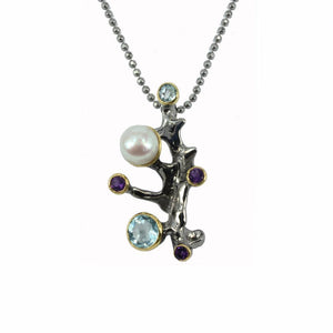 Black sterling silver pendant branch look, with pearl, topaz, amethyst