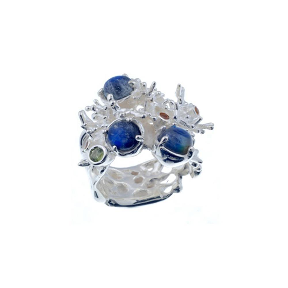 Coral Love Tierra Azul Ring-Rings-AdiOre Jewels