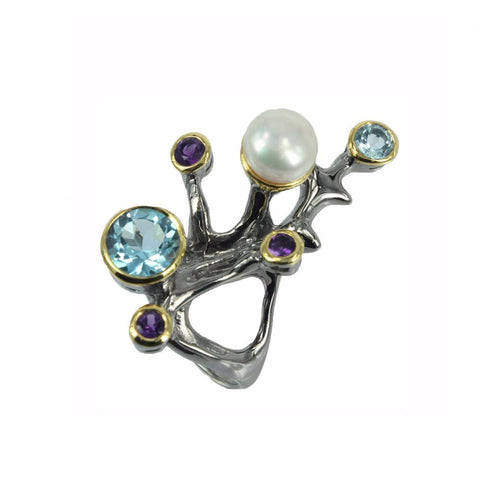 Branch alike black sterling silver ring with topaz, amethyst and pearl
