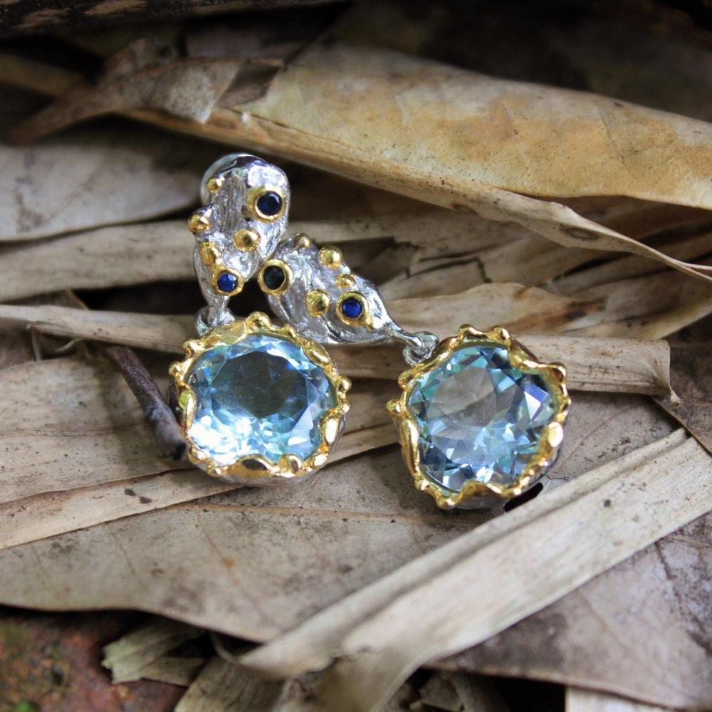 925 sterling silver dangle earrings with blue topaz, Alice collection