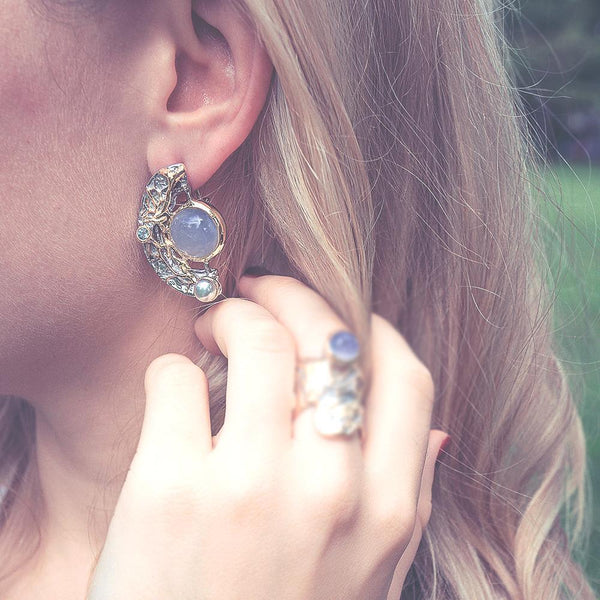 Alice Calcedonia Azul Earrings-Earrings-AdiOre Jewels