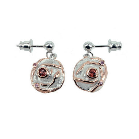 Sterling silver earrings in form of rose with golden edges and garnet