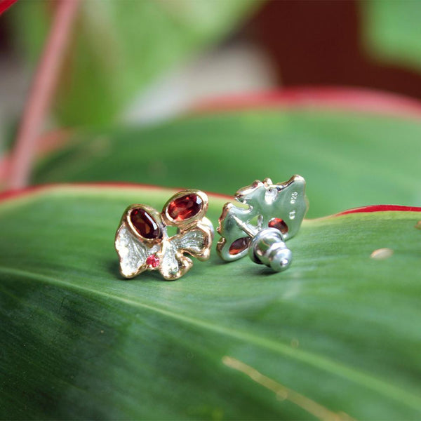 Fern And Leaf Flemma Rojo Earrings-Earrings-AdiOre Jewels