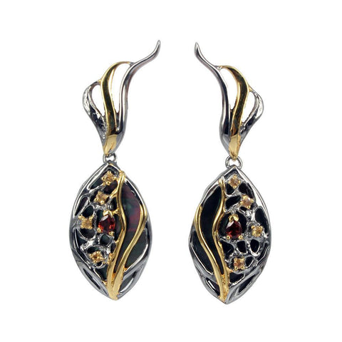 Classic silver earrings with mysterious black Tahitian mother of pearl