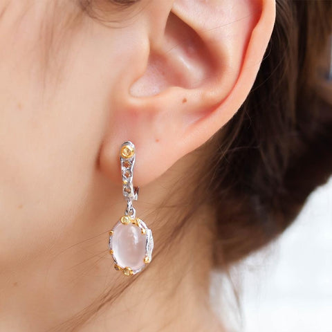 Boho style silver earrings with roze quartz and multi-colour sapphires