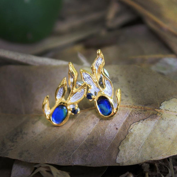 Fern & Leaf Tierra Azul Earrings-Earrings-AdiOre Jewels