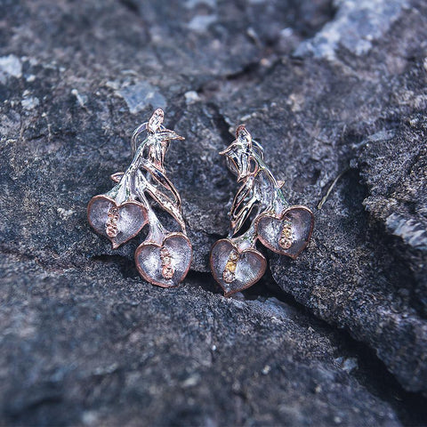 Fern & Leaf Flemma Naranja Earrings-Earrings-AdiOre Jewels