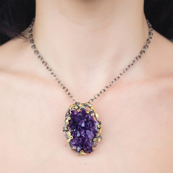 Spectacular Big Raw Purple Amethyst Necklace, made of sterling silver