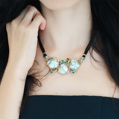 One Of A Kind Aqua Mother of Pearl Necklace-Necklaces-AdiOre Jewels