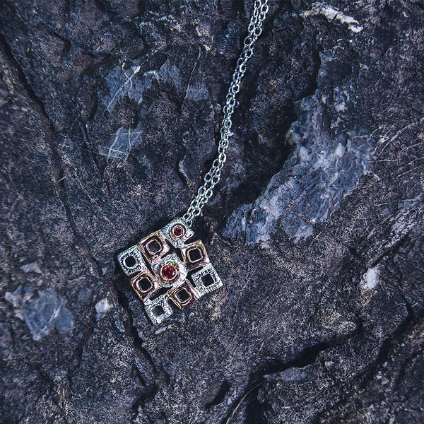 Big square sterling silver pendant with garnet gemstone and necklace