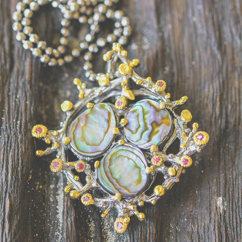 Coral inspired necklace with mother of pearl green abalone, sapphires