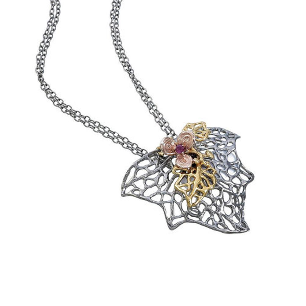 Fern And Leaf Flemma Rojo Pendant-Pendants-AdiOre Jewels