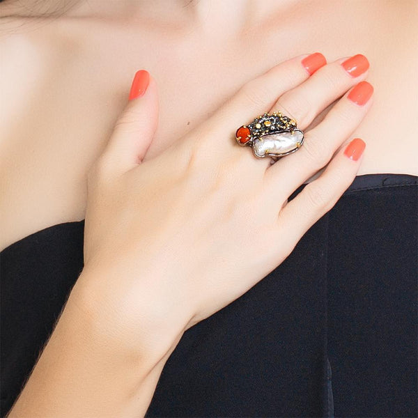 One Of A Kind Aqua Mezclado Ring-Rings-AdiOre Jewels