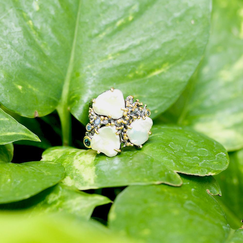 Aqua Tierra Perla Ring-Rings-AdiOre Jewels