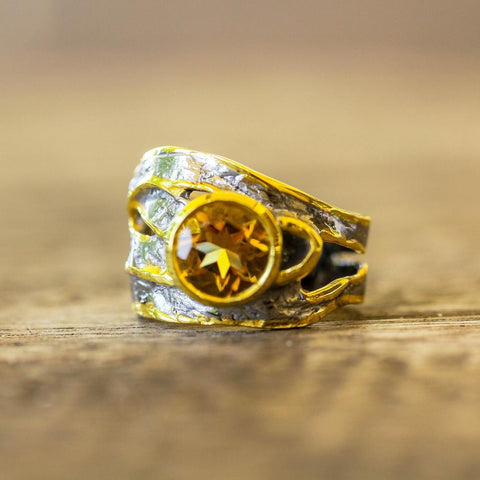 Designer sterling silver ring with orange citrine, Alice Collection