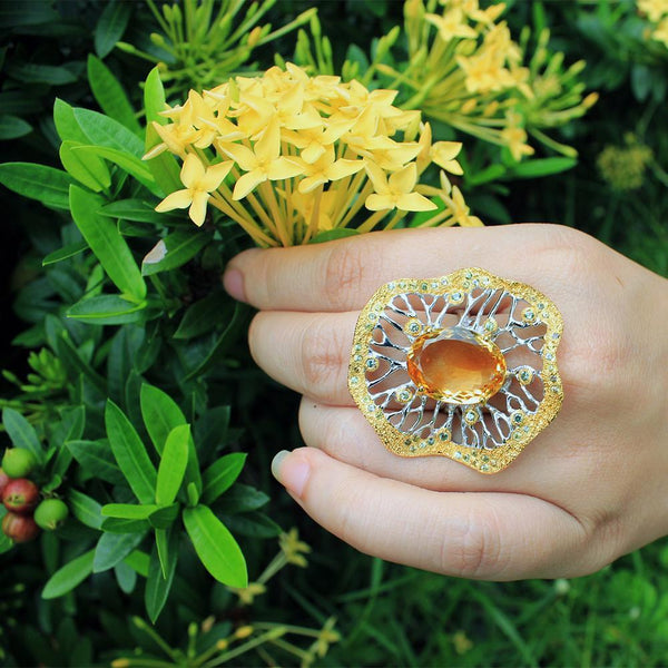 Alice Mezclado Amarillo Ring-Rings-AdiOre Jewels