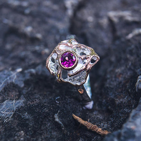 Quaint Sterling Silver Garnet Ring with Rose Gold Edges