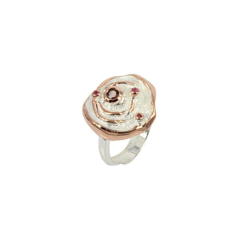 Golden rose with red garnetd and pink sapphire sterling silver ring