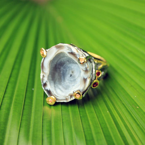 One Of A Kind Tierra Agate Geode Ring