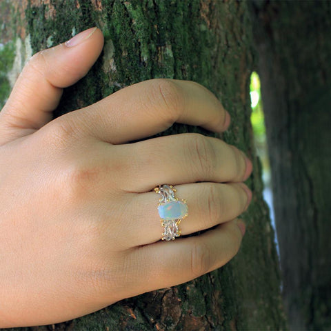 Ethiopian opal cusion 925 silver ring, branched band, rhodium and gold