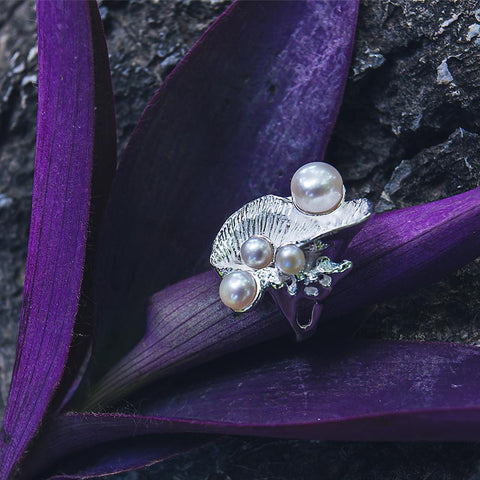 Arabesque shell shape freshwater pearl ring, boho style