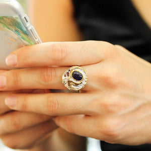 Round sterling silver ring, boho style with big blue sapphire cabochon