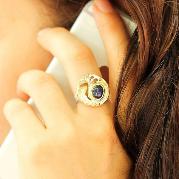 Alice Tierra Azul Ring-Rings-AdiOre Jewels