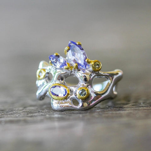 Nice designer 925 silver ring with blue gems: tanzanite and sapphire
