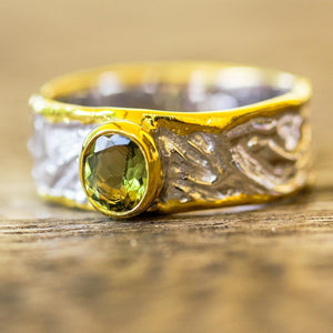Designer 925 silver ring, carved band, gold edges, tourmaline gemstone